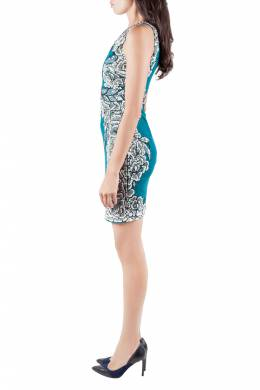 Badgley Mischka Collection Teal Green Floral Sequin Embellished Sleeveless Cocktail Dress XS 206128