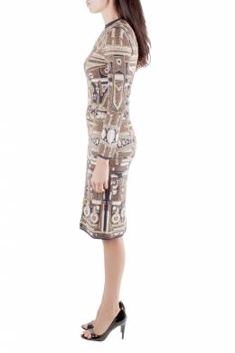 Mary Katrantzou Metallic Gold and Navy Blue Jacquard Knit Midi Dress XS 204031