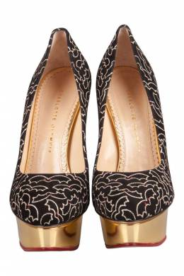 Charlotte Olympia Black Suede Midnight Dolly Bat Embroidered Platform Pumps Size 39 204626