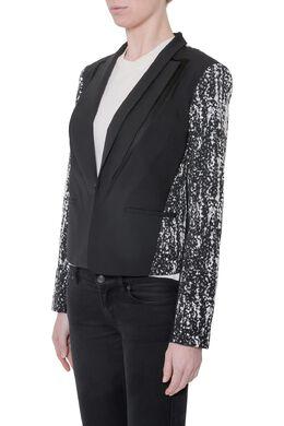 Diane Von Furstenberg Black Crepe Jacquard Paneled Olena Jacket M 205997