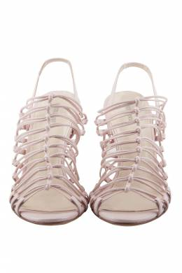 Roberto Cavalli Pale Pink Leather Knot Detail Strappy Sandals Size 37 205998