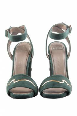 Versace Dark Green And Gold Suede Ankle Strap Sandals Size 37 205305