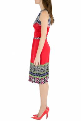 Etro Red Abstract Print Stretch Knit Ruched Front Sleeveless Midi Dress M 206228