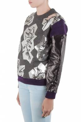 Kenzo Grey Monster Foil Print Multi Fabric Sweatshirt S 205952