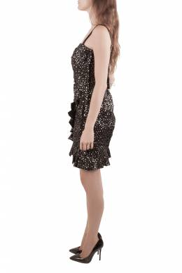 Isabel Marant Black Sequined Silk Asymmetric Sleeve Becky Mini Dress M 205492