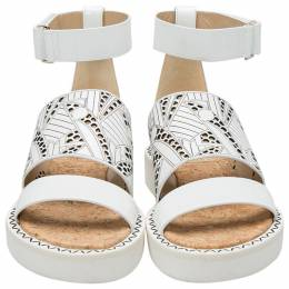 Nicholas Kirkwood White Laser-Cut Leather Peter Pilotto Ankle Strap Flat Sandals Size 37.5 205971