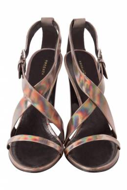 Proenza Schouler Metallic Patent Leather Iridescent Strappy Sandals Size 37.5 205905