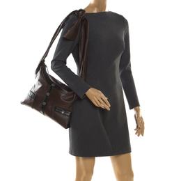 Chanel Brown/Black Leather Medium Girl Shoulder Bag 206078