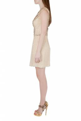 Carolina Herera Beige Plisse Crepe Embellished Tulle Cap Sleeve Dress S Carolina Herrera 206139