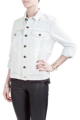 Proenza Schouler Indigo Bleach Effect Denim Button Front Jacket S 206005