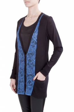 Vera Wang Collection Black and Blue Lace Trim Button Front Cardigan S 203622