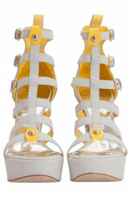 Giuseppe Zanotti Design White And Yellow Suede Strappy Platform Sandals Size 36 206277