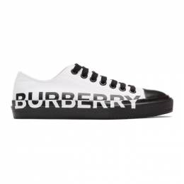 Burberry White and Black Larkhall M Logo Sneakers 8009892