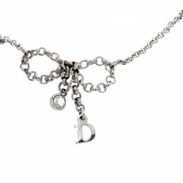 Dior Button Bow Crystal Silver Tone Charm Bracelet