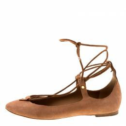 Chloe Brown Suede Foster Lace-up Ballet Flats Size 39 222176