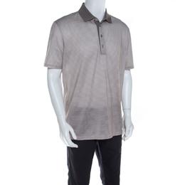 Ermenegildo Zegna Grey Geometric Print Cotton Short Sleeve Polo T Shirt XL 206412