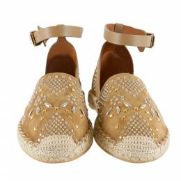 Valentino Brown Embellished Suede And Leather Ankle Strap Espadrilles Size 40