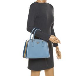 Prada Two Tone Blue Saffiano Leather Frame Top Handle Bag 206226