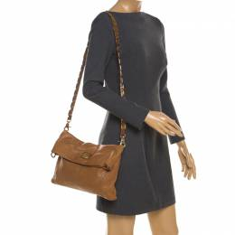 Tory Burch Tan Leather Louisa Fold Over Shoulder Bag 206219