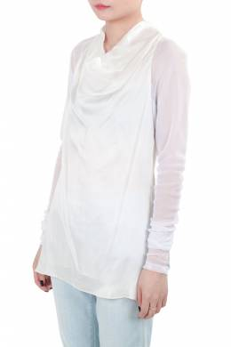 Vera Wang Collection Cream Silk Satin Cowl Neck Mesh Sleeve Blouse XS 206009