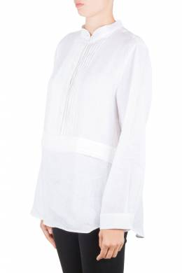 Armani Collezioni Off White Linen Pleat Detail Long Sleeve Blouse XL 206006