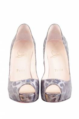 Christian Louboutint Gold/Silver Leopard Glitter Canvas Very Prive Lame Peep Toe Pumps Size 37 206275