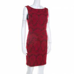 Alice + Olivia Red Floral Embroidered Sleeveless Sheath Dress M 206870