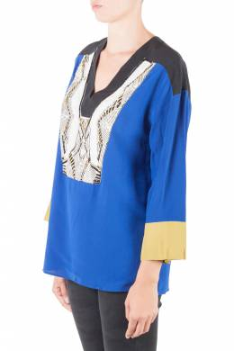 Etro Colorblock Silk Embellished Yoke Long Sleeve Tunic M 206016