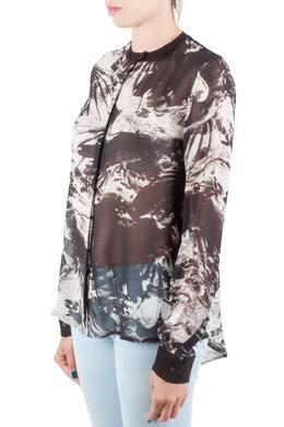 Preen by Thornton Bregazzi Blackbirds Printed Silk Long Sleeve High Low Blouse M 206021