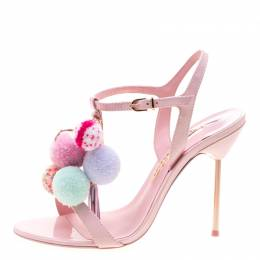 Sophia Webster Pink Leather Layla Pom Pom Embellished T-Strap Sandals Size 36.5