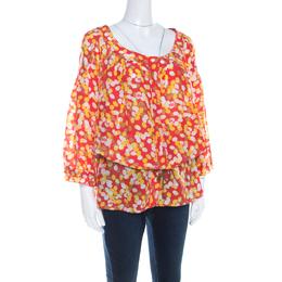 Diane Von Furstenberg x Andy Warhol Polka Dot Print Silk Blake Tunic Top L 206567