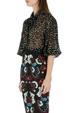 Dolce&Gabbana Black and White Star Print Neck Tie Detail Blouse M 206118