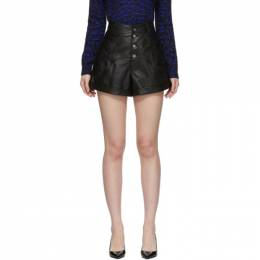 Saint Laurent Black Leather Western-Style High-Waisted Shorts 560672 YC2UE