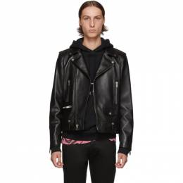 Saint Laurent Black Classic Leather Motorcycle Jacket 578686YC2QO