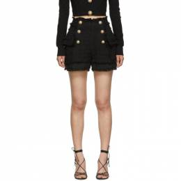 Balmain Black Tweed Double-Breasted Shorts SF15012C137