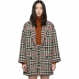 Red Valentino Black and Red Check Tweed Coat SR3CAA82499