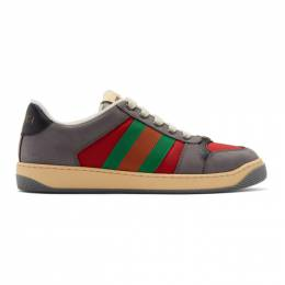 Gucci Grey and Red Screener Sneakers 576223 9PYQ0