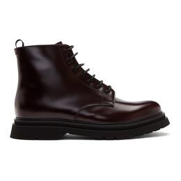 Prada Burgundy Lace-Up Boots 2TE141 B4L