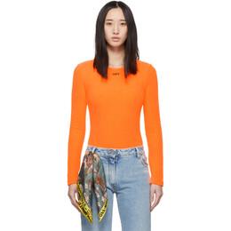 Off-White Orange Terrycloth Bodysuit OWDD009E19E670911910