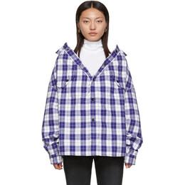 Balenciaga Blue Check Swing Canadian Jacket 583874 TEM20