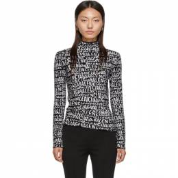 Balenciaga Black and White Logo Wave Turtleneck 583159-T5122