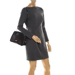 Salvatore Ferragamo Black Leather Gancini Flap Shoulder Bag 206509