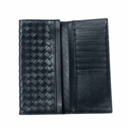 Bottega Veneta Blue Intrecciato Leather Long Wallet 207025