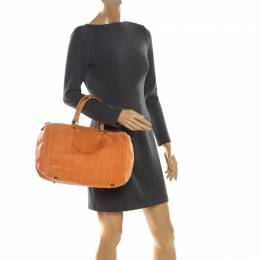 Carolina Herrera Orange Monogram Leather Large Andy Boston Bag