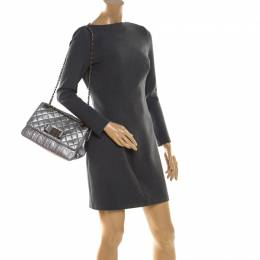 Carolina Herrera Silver Leather Bow Flap Shoulder Bag 206910