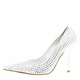 Baldinini White Patent Leather Crystal Embellished Pointed Toe Pumps Size 38 166297