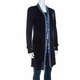 Emilio Pucci Navy Blue Embellished Trim Long Sleeve Cardigan M 206872