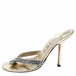 Gina Metallic Gold Leather Crystal Embellished Sandals Size 38 200956