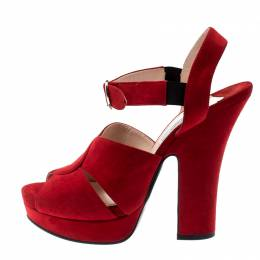 Prada Red Suede Leather Open Toe Ankle Strap Sandals Size 38 200978
