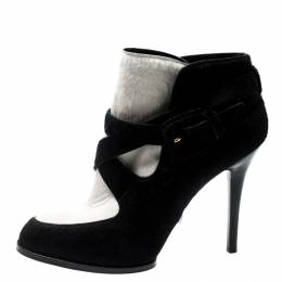 Tod's Monochrome Calf Hair Cross Strap Buckle Detail Ankle Boots Size 37.5 Tod's